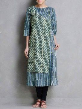 Green-Indigo Dabu Printed Button Detail Cotton Kurta by Indian August
