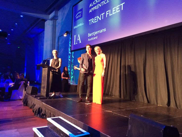 Bettjemans apprentice TrentFleet  at the Hito Awards held in conjunction with the NZARH Kitomba Business Awards in Wellington: Trent won Auckland Apprentice of the Year, 2014.