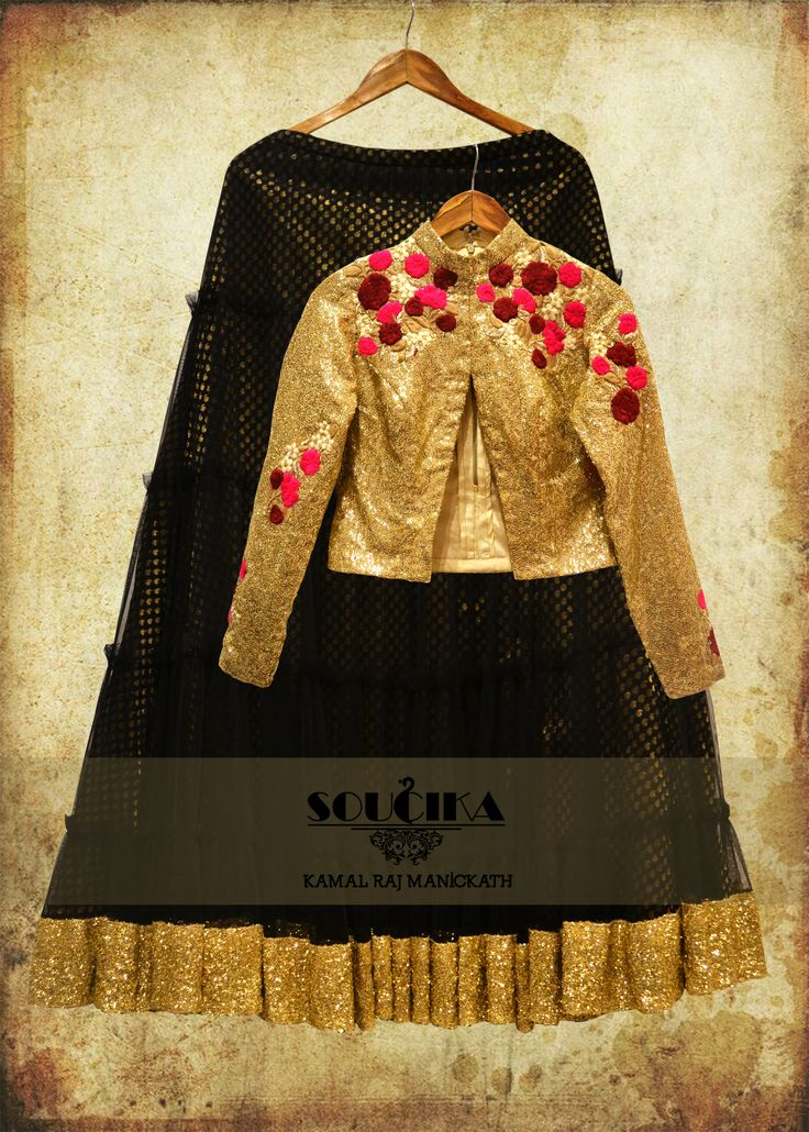 Golden sequinned jacket with black net lehenga, only from Soucika by Kamal Raj…