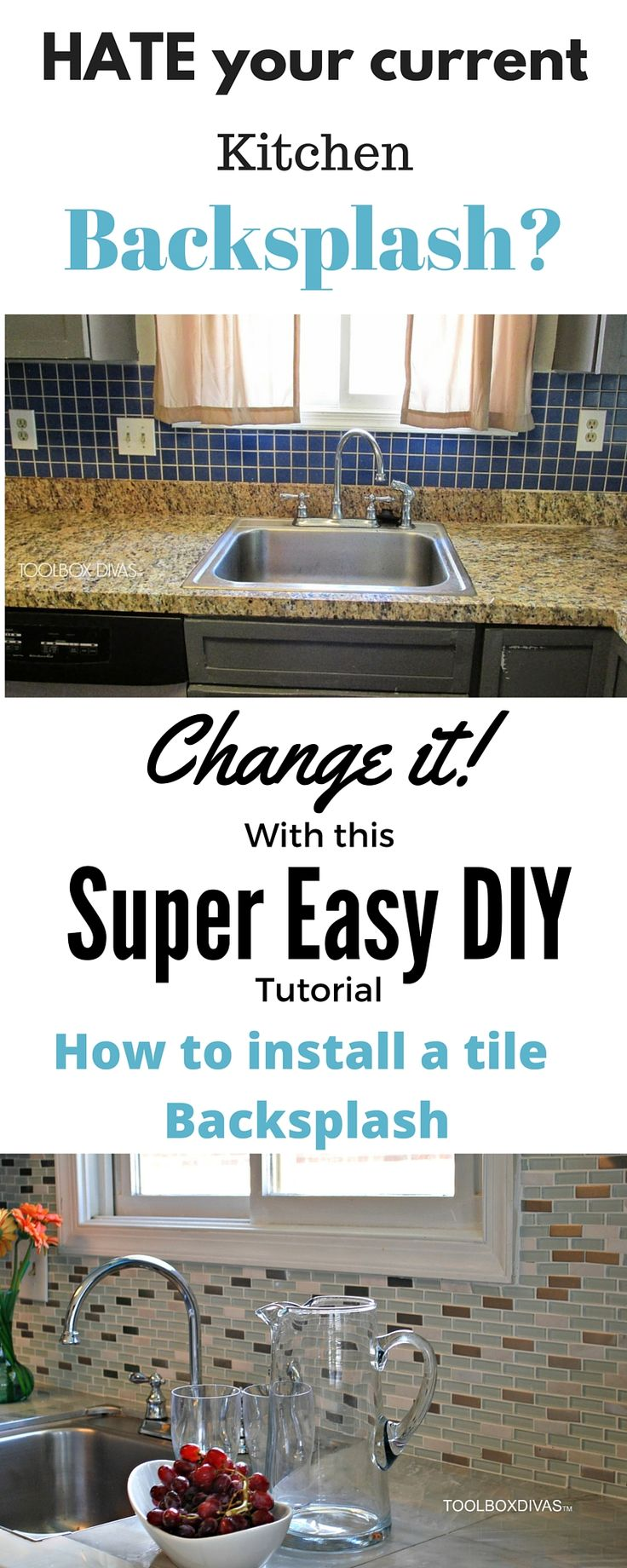How to install a tile backsplash. Remove the old out dated backsplash and replace with something modern that fits the decor and feel of your home.  Low cost kitchen update solution