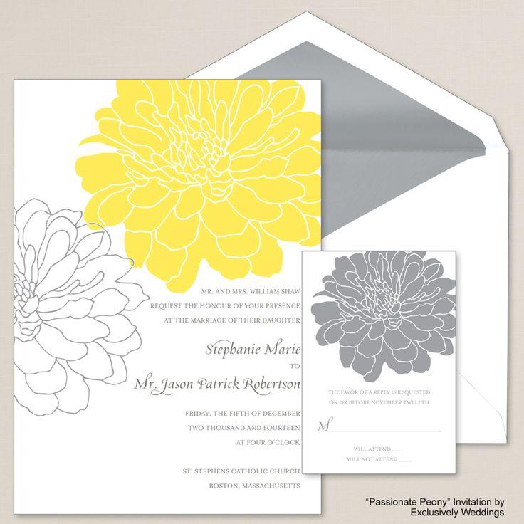 Passionate Peony Yellow and Gray Wedding Invitation