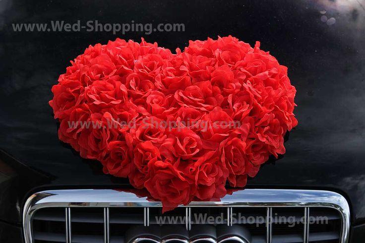 Red Roses Big Heart Wedding Car Motor Hood Decoration DEK1050 Flowers Heart Best for white and black car by BridalJackets on Etsy https://www.etsy.com/listing/171385230/red-roses-big-heart-wedding-car-motor