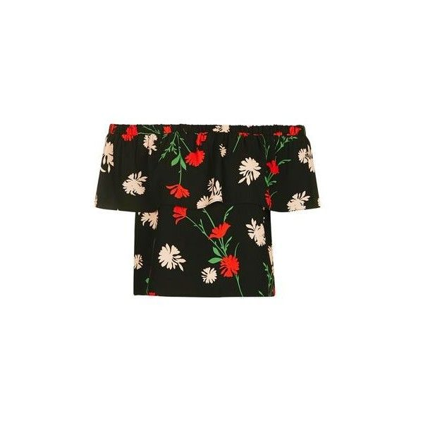 TopShop Tall Pressed Floral Bardot Top (145 PEN) ❤ liked on Polyvore featuring tops, black, party tops, going out tops, holiday party tops, tall tops and flower print top