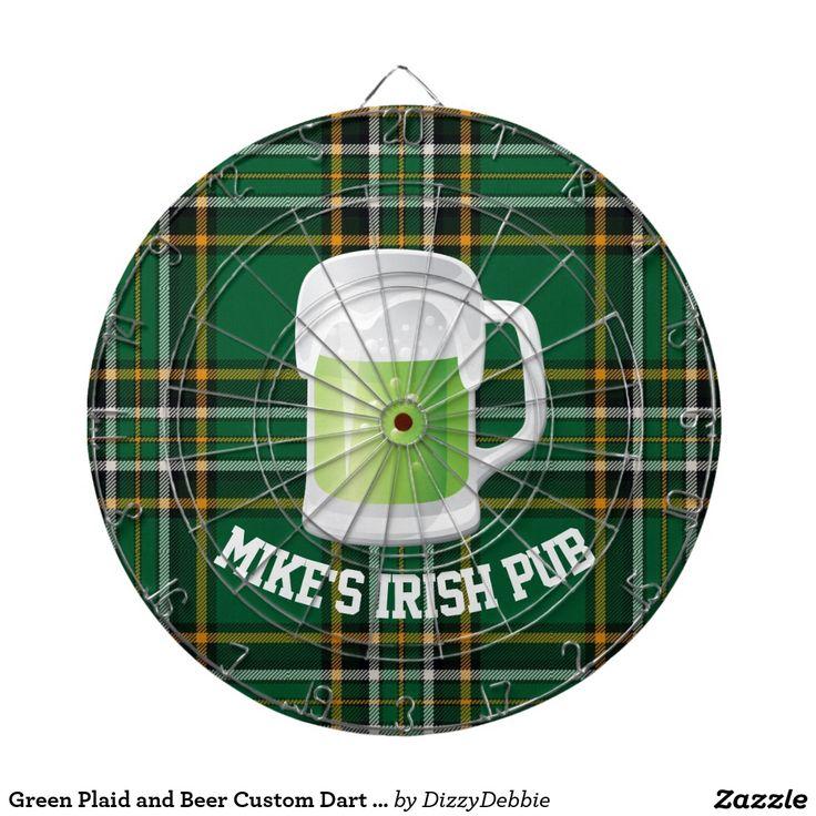 Green Plaid and Beer Custom Dart Board