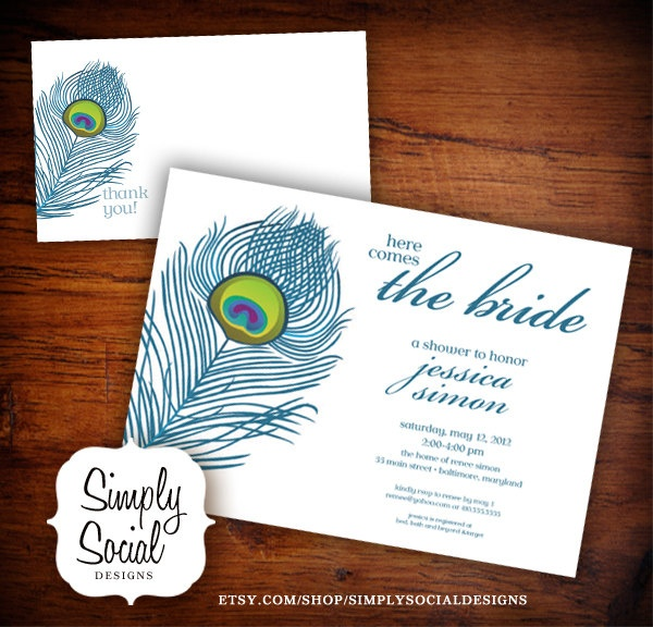 ... Feather Bridal Shower Birthday Invitation and Thank You Note Package