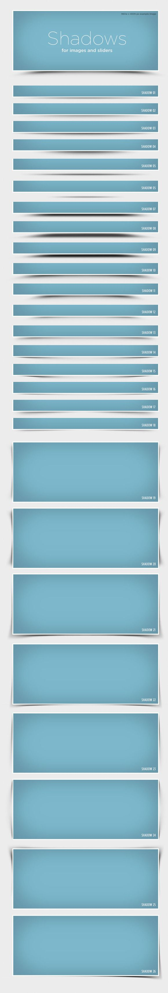 Realistic shadows for use with images, boxes or web sliders. PSD file for web design. $4