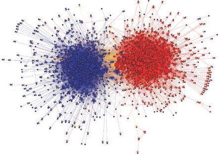 Data from the blogosphere.  Shown is a link structure within a community of political blogs (from 2004), where red nodes indicate conservative blogs, and blue liberal.