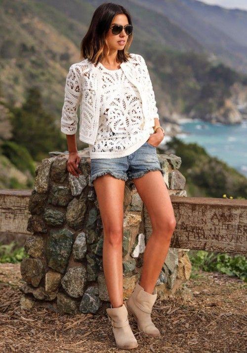 джинсовые шорты, летняя мода 2015, модные тенденции 2015, стильный образ на каждый день, уличный стиль лето, MsKnitwear, knitwear, knitting (фото 8)