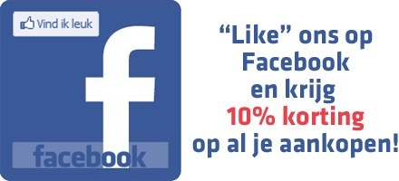 """""""Like"""" ons op Facebook en krijg 10% korting op alles."""