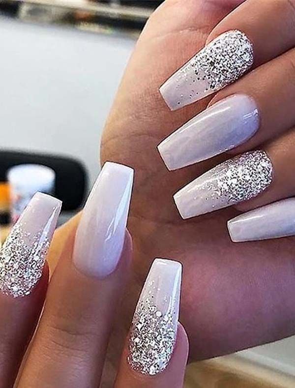 Amazing Glitter Nail Arts Designs For Ladies To Show Off In 2020 In 2020 Nail Art Hacks Fake Nails Ballerina Nails