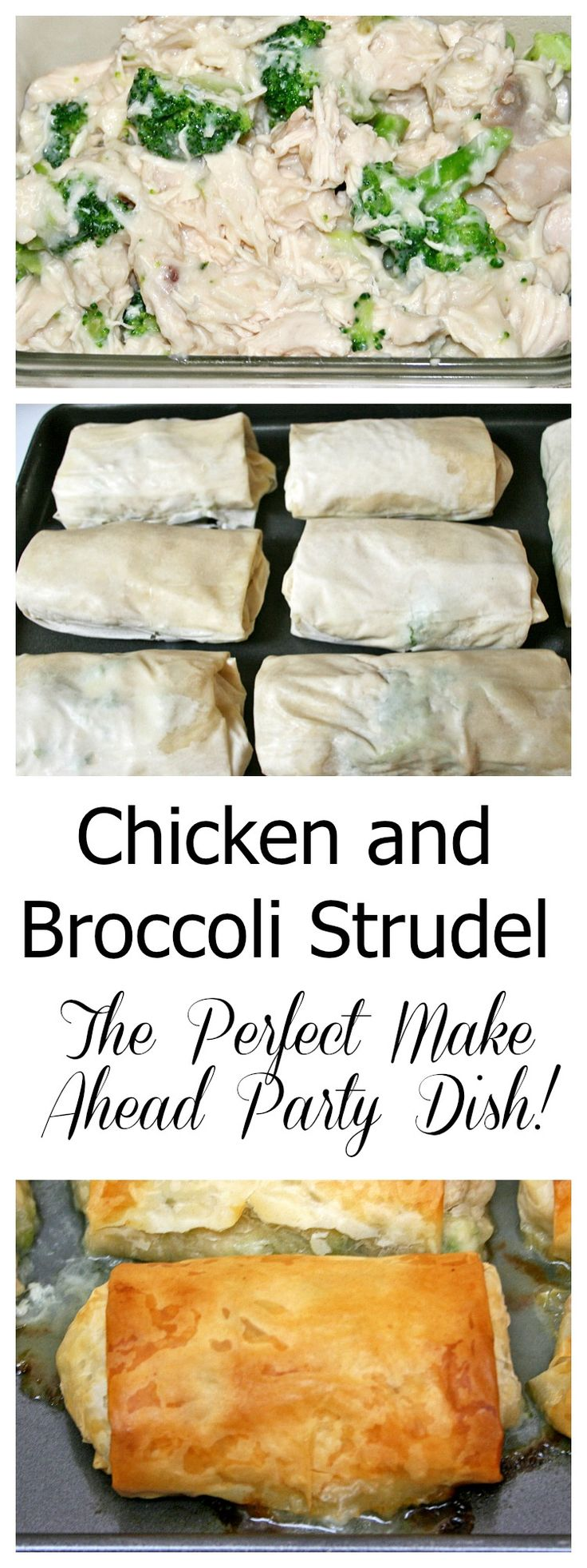 Chicken and Broccoli Strudel Tender pieces of moist chicken with broccoli in gravy wrapped in filo dough. Chicken and Broccoli Strudel is a great make ahead party dish. Roll it early in the day, bake right before serving. Takes only 20 minutes baking time!