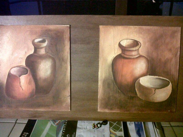 Vasijas en óleo.