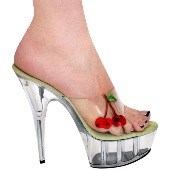 """5"""", 6"""", 7"""" or 8"""" Karo's Sequin Cherries Mule Shoes w/Clear High Heel Platform - Sizes 5-14. #0389 