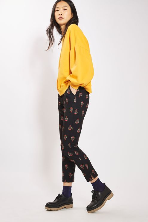 Add a touch of modernity to your smart-wear in these cool patterned trousers. In a slim, cigarette fit, these trousers sit high on the waist and come with side tab detail.  #Topshop