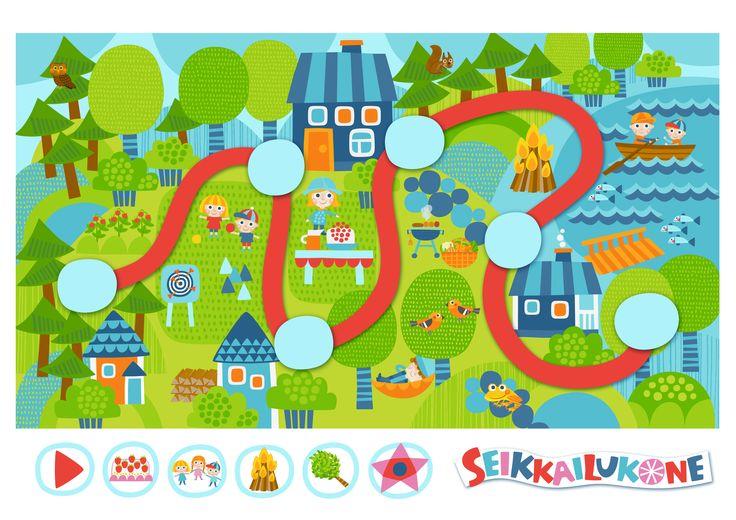 Seikkailukone | tulostettava | paperi | kartta | peli | tehtävä |  kesämökki | lapset | game | map | children | kids | free printable | Pikku Kakkonen