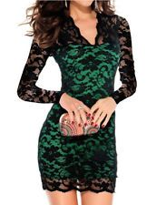 Women Sexy Long Sleeve Evening Party Cocktail Ball Lace Mini Dress Clubwear-XL