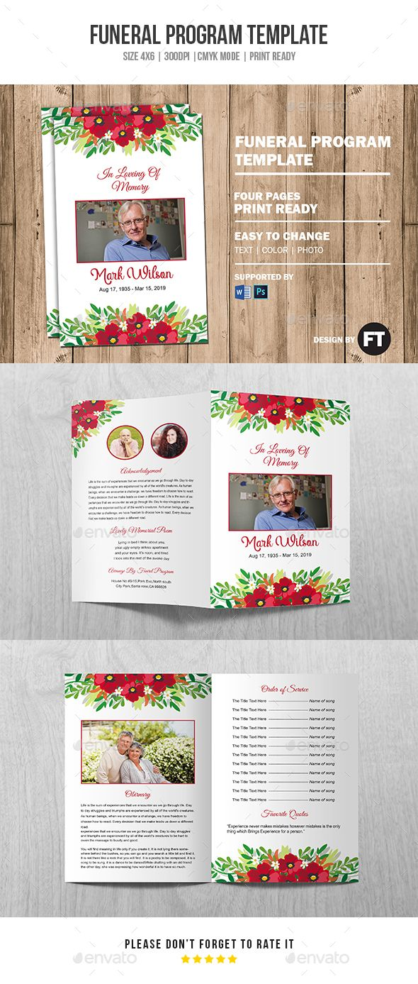 Funeral Program Template Vol 14