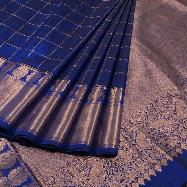 Buy online Handwoven Blue Kanjivaram Soft Silk Saree With Checks, Hamsa Border & Horse Pallu 10013659
