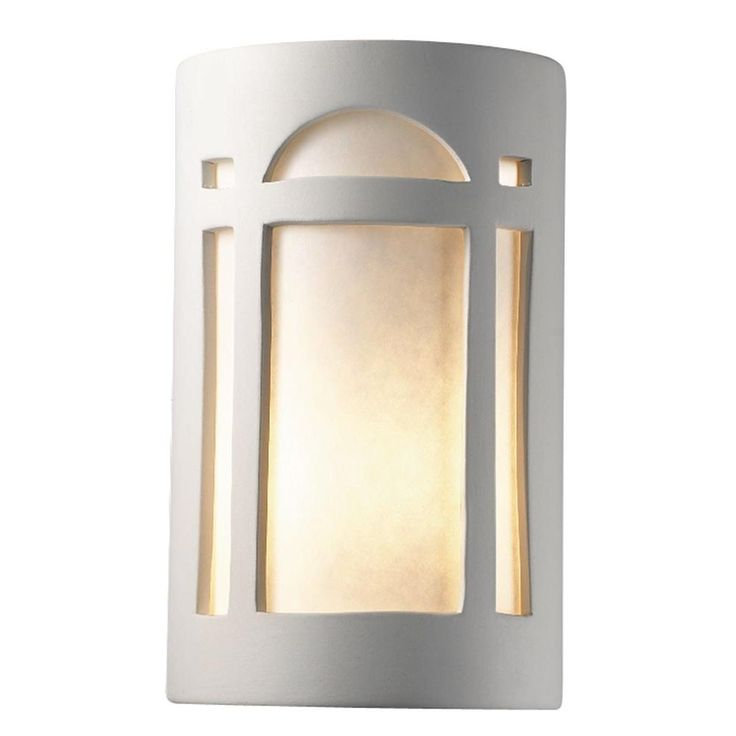 Leonidas 1-Light Paintable Ceramic Bisque Large Arch Window Open Top and Bottom Sconce