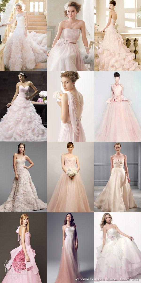 bridal trends 2014 color blush pink rose wedding dresses