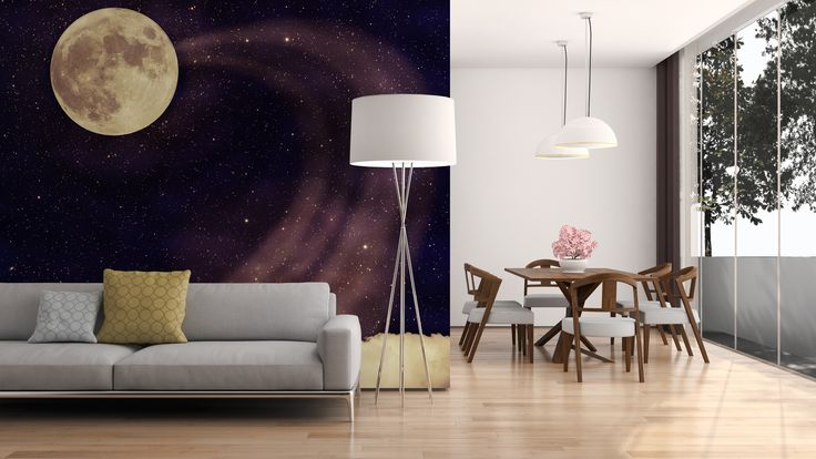 #Moon #galaxy wall #mural for #livingroom galaxy home decor