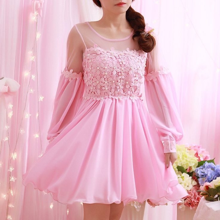 Sweet Flower Lantern Sleeve Chiffon Dress Coupon Code Cutekawaii For 10 Off