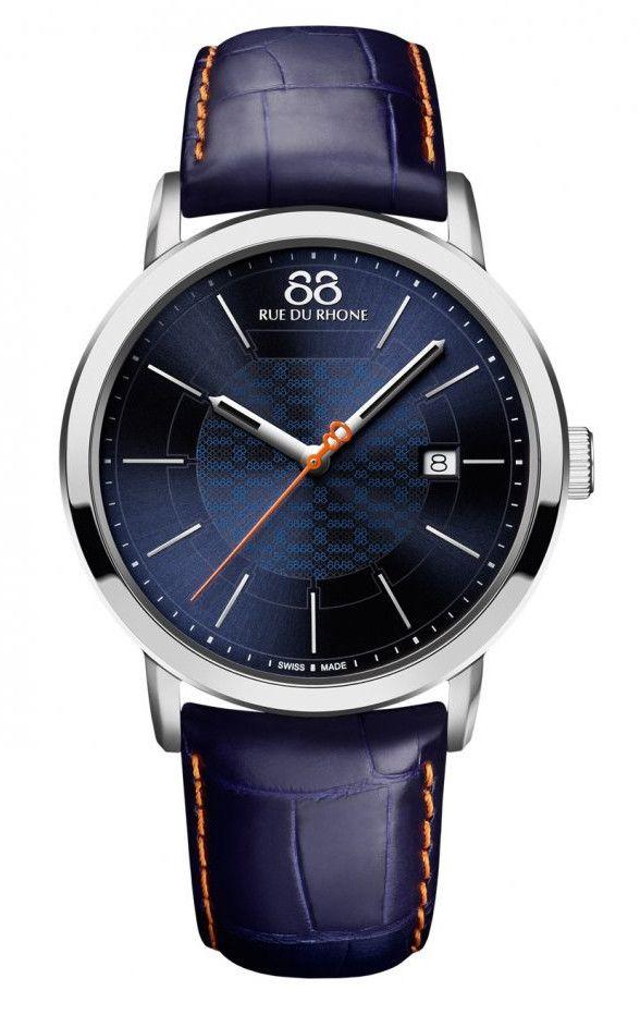 88 RUE DU RHONE 87WA140023 Men's Blue Swiss Made Watch Orange Accents