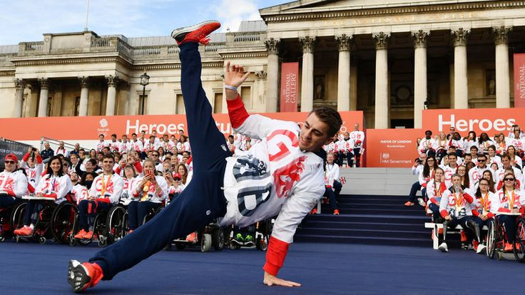 Gymnast Max Whitlock bagged a pair of Olympic gold medals in Rio and entertained the crowd in Trafalgar Square London during the homecoming celebration October 2016