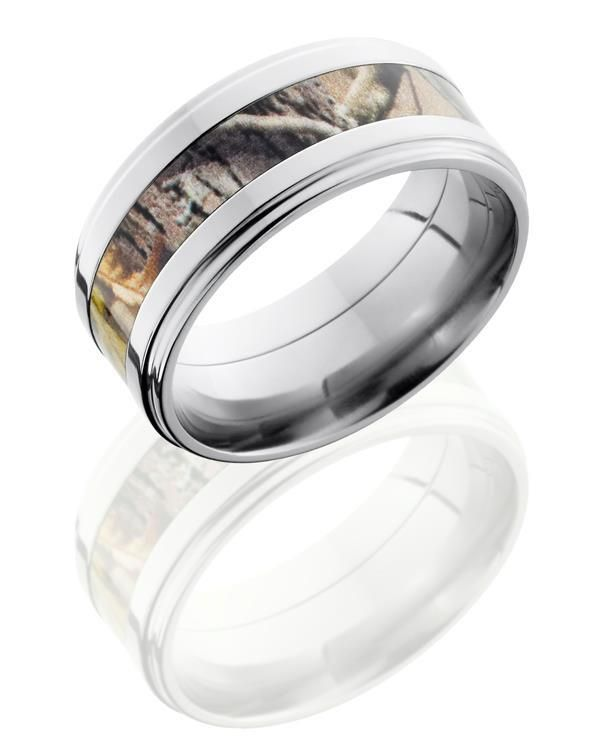 Camo wedding band for him. I would probably not get this but it's still awesome and I love it!