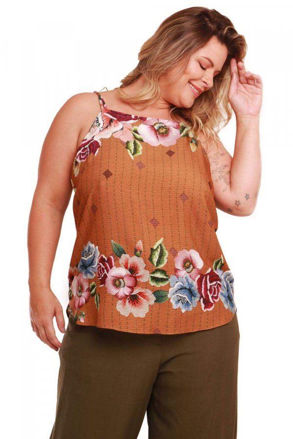 7350ec5062 Regata plus size em tecido de viscose com estampa exclusiva Munny Rosas  Bordadas. Modelo soltinho