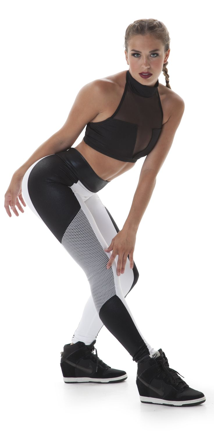 Bold black and white leggings with textured mesh inset.  Perfect for a team hip hop dance costume!