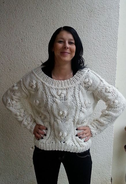 Ravelry: White sweater with bobbles knitting pattern pattern by Horvath Orsolya