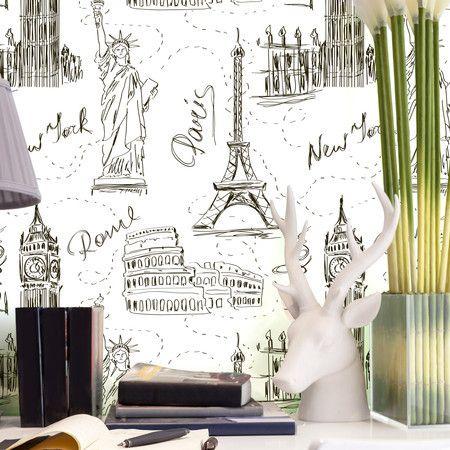 Papel de parede adesivo viagem ao mundo - StickDecor | Decoração Criativa