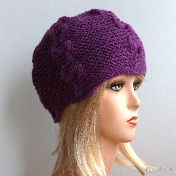 Fioletowa gruba czapka warkocze - Czapki, berety - Ubrania