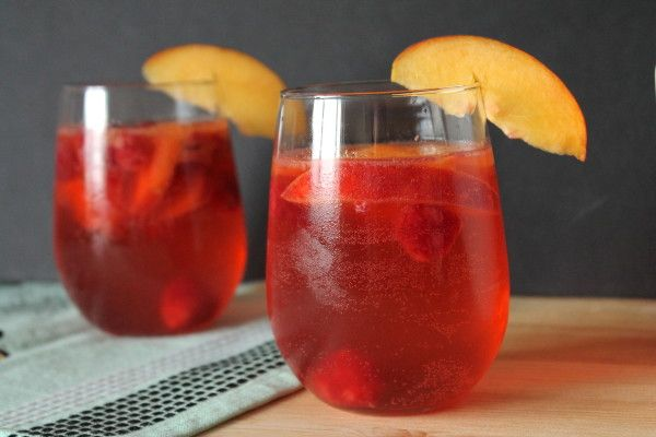 Peach and Raspberry Sangria from @Eat Your Heart Out
