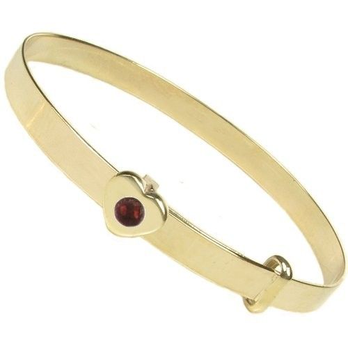 Elinor Rose January Birthstone 9ct Gold Christening Bangle