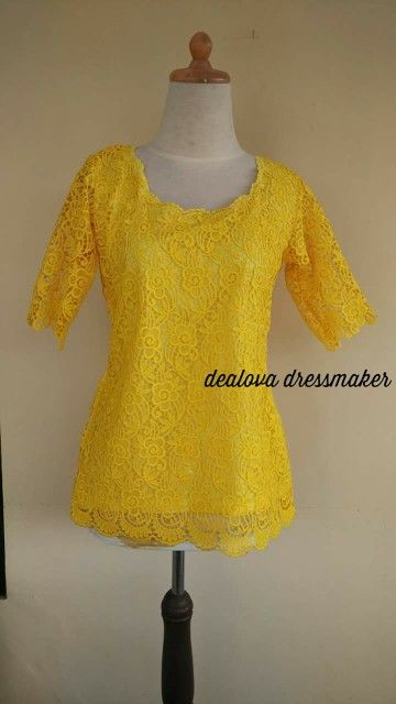 Blouse brokat kuning made by order