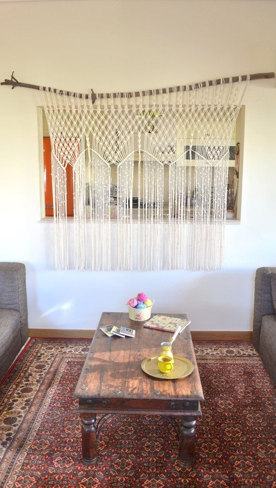 Bohemian macrame curtain / room divider / wall hanging with natural cotton twine. Ethnic, 70s, vintage, unique, fringes
