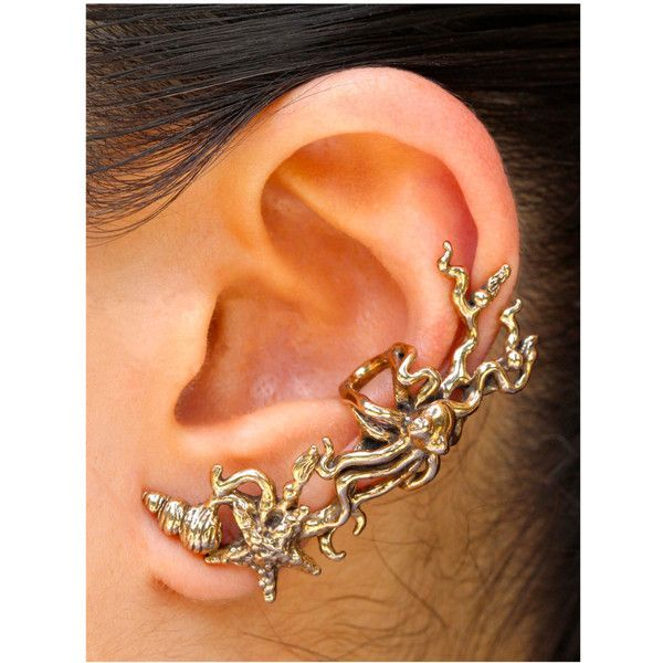 Octopus Starfish Ear Cuff - Poseidon's Gift Bronze - Octopus Jewelry... ($34) ❤ liked on Polyvore featuring jewelry, earrings, accessories, starfish earrings, earring jewelry, starfish ear cuff, ear cuff jewelry and star fish earrings
