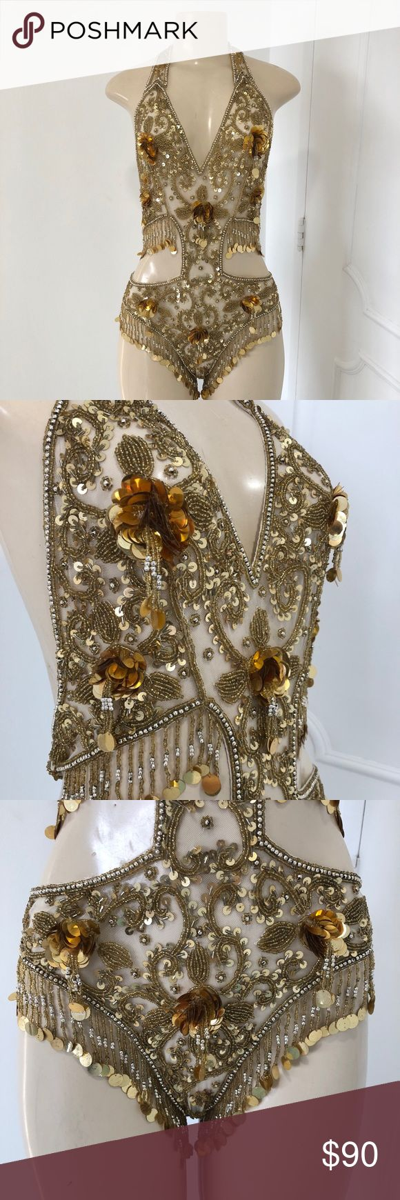 One piece belly dance bodysuit Condition: This Gorgeous One piece belly dance bodysuit in good Pre Owned condition, only clasp need some fix , understand it is best to clean item before wearing. You will receive item as pictured! If you have any questions please let me know! Other