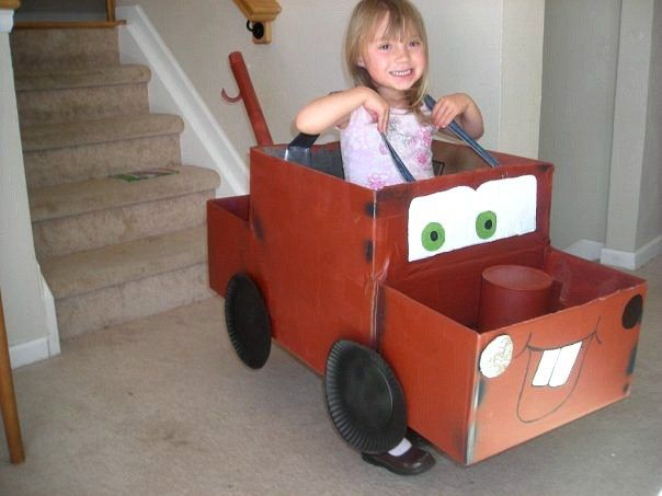 How to make a Mater costume from a cardboard box -- this is one of my kids' favorite costumes!