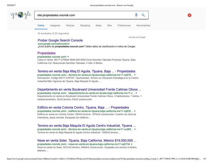 Inventario en google de propiedades micrositio de nocnok inmuebles adjudicados en tijuana baja calif