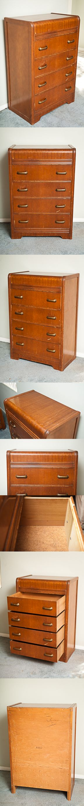 Vintage Waterfall Dresser $175 Retro, Mid-Century Waterfall Chest of Drawers, Depression-Era Art Deco Waterfall Dresser, 1920s, 1930s, 1940s furniture