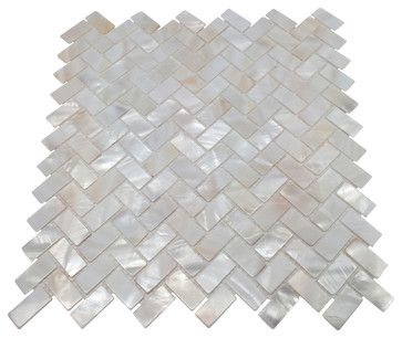 Mother of Pearl Herringbone Backsplash Mosaic Shell Tile, Oyster White contemporary-wall-and-floor-tile