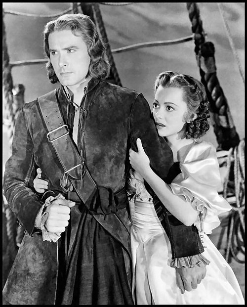 Errol Flynn Pirate and Olivia De Havilland in Captain Blood (1935)
