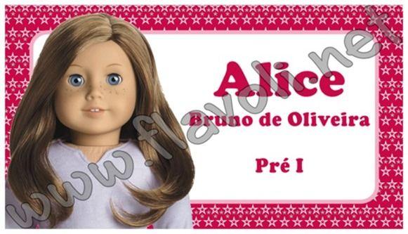 Etiqueta escolar - American Girl    :: flavoli.net - Papelaria Personalizada :: Contato: (21) 98-836-0113 - Também no WhatsApp! vendas@flavoli.net