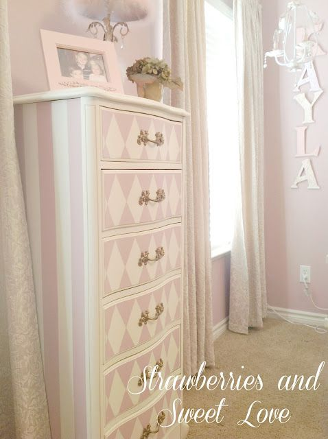 Cute to do for the girls' dresser  Pink and white painted dresser, stripes and diamond design - This would be so darling in a little girls room.