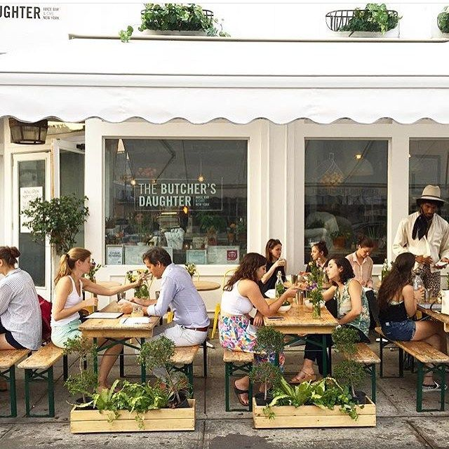 """SUNDAY BRUNCH BUCKET LIST   THE BUTCHER'S DAUGHTER, New York, NY. """"serves weekend brunch in a 35-seat beautifully designed, light-filled space. During the warmer months, you can also gather on the sidewalk terrace."""""""