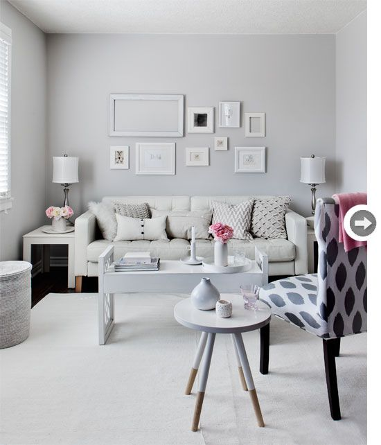 Living room decor: All-white gallery wall {PHOTO: Donna Griffith}