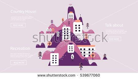 Vector flat landscape illustration on violet background